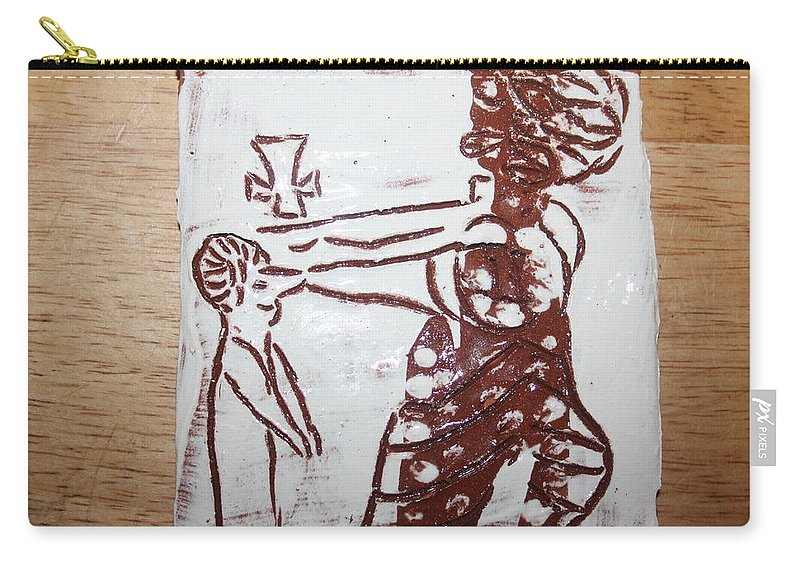 Mamamama Africa Twojesus Carry-all Pouch featuring the ceramic art Lord Bless Me 10 - Tile by Gloria Ssali