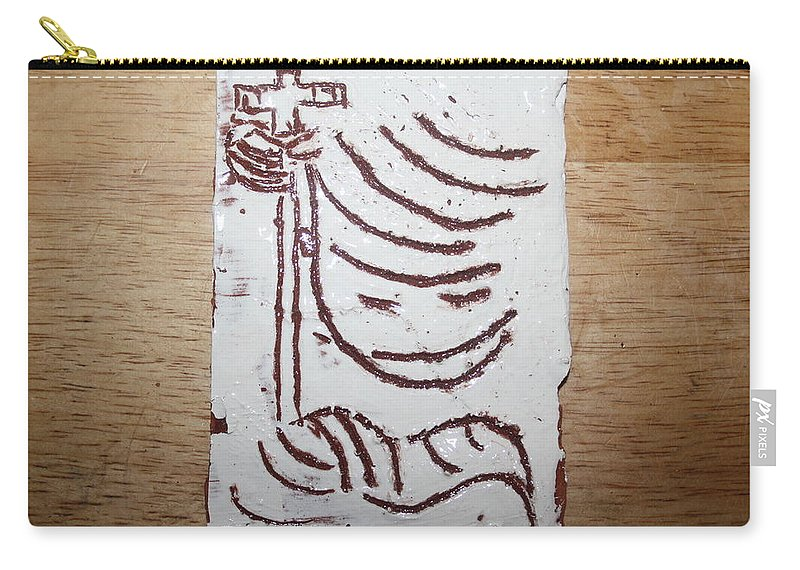 Mamamama Africa Twojesus Carry-all Pouch featuring the ceramic art Lord Bless Me 20 - Tile by Gloria Ssali