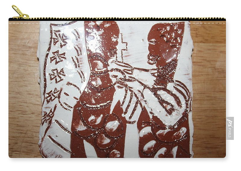 Mamamama Africa Twojesus Carry-all Pouch featuring the ceramic art Lord Bless Me 3 - Tile by Gloria Ssali