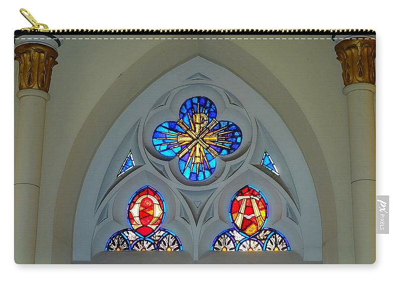 Loretto Chapel Carry-all Pouch featuring the photograph Loretto Chapel Stained Glass by Robert Meyers-Lussier