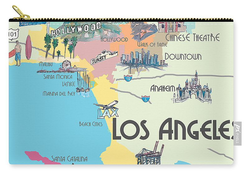 Los Angeles California - Map Of Greater L.a. With Highlights Carry on