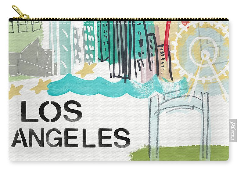 Los Angeles Carry-all Pouch featuring the painting Los Angeles Cityscape- Art By Linda Woods by Linda Woods