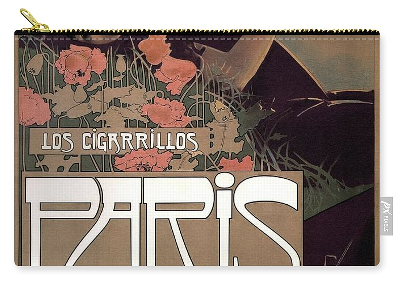Los Cigarillos Carry-all Pouch featuring the mixed media Los Cigarillos Paris - Son Los Mejores - Vintage Advertising Poster by Studio Grafiikka