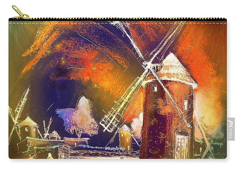 Carry-all Pouch featuring the painting Los Molinos Del Quijote 01 by Miki De Goodaboom