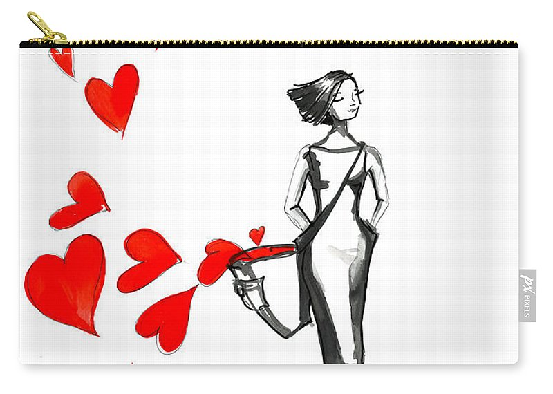 Lady Carry-all Pouch featuring the painting Lose Your Heart by Adriana Laube