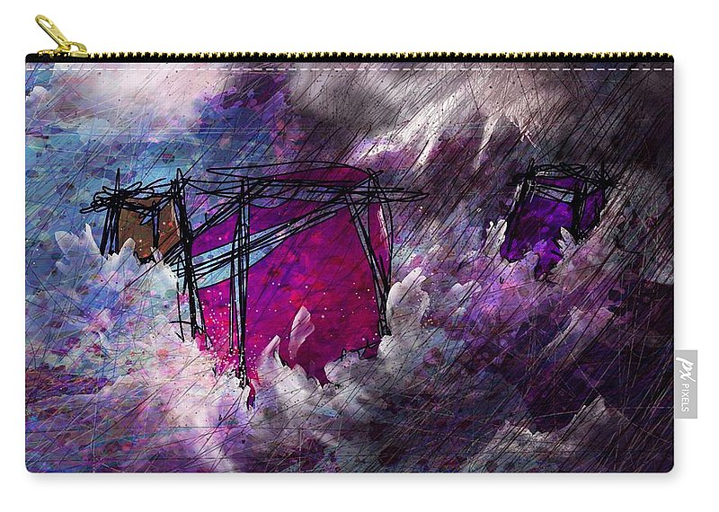 Abstract Carry-all Pouch featuring the digital art Lost At Sea by Rachel Christine Nowicki