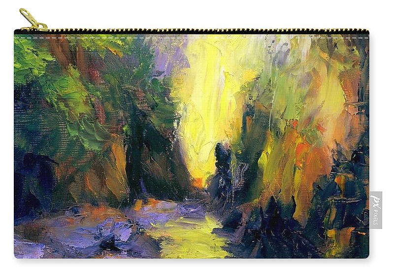 Landscape Carry-all Pouch featuring the painting Lost Creek by Gail Kirtz