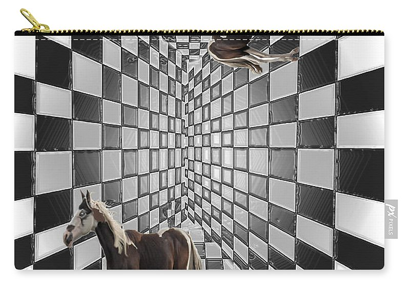 Horse Horses Lost Soul Maze Animal Black And White Paint Digital Artist Regina Sk Carry-all Pouch featuring the digital art Lost Souls by Andrea Lawrence
