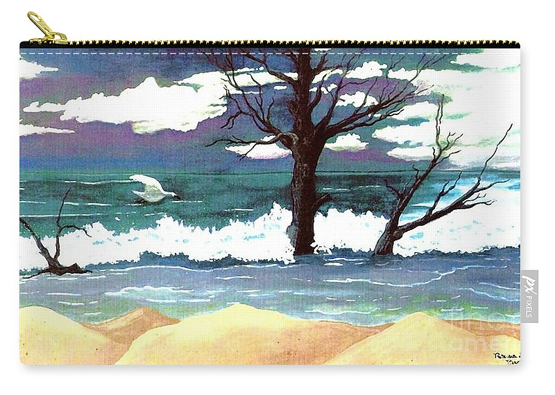 Original Watercolor Painting Carry-all Pouch featuring the painting Lost Swan by Patricia Griffin Brett