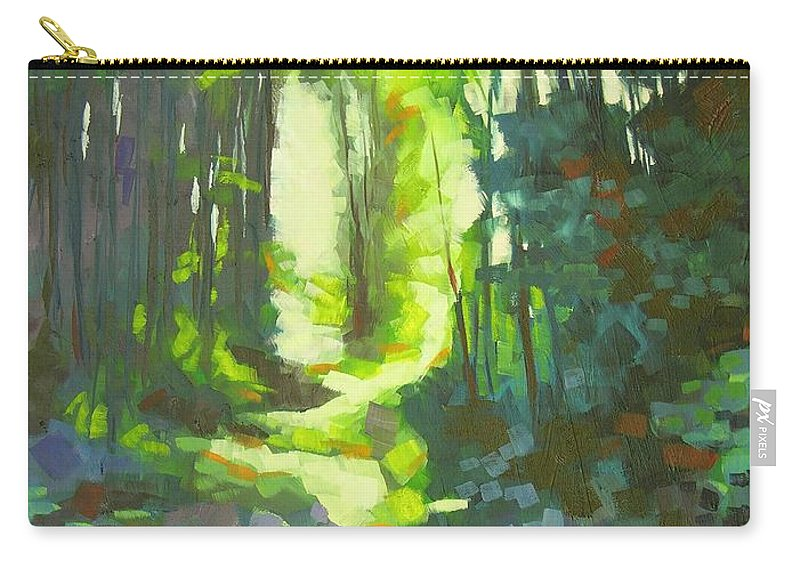 Landscape Carry-all Pouch featuring the painting Lothlorian Wood by Mary McInnis