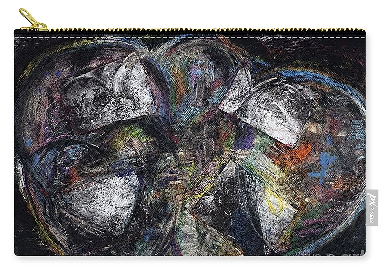 Abstract Heart Carry-all Pouch featuring the painting Lots Of Heart by Frances Marino