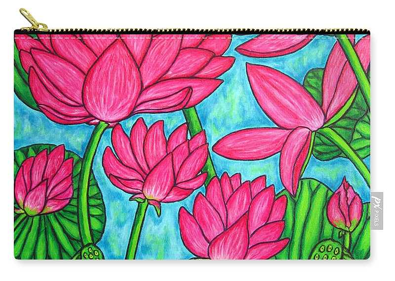 Carry-all Pouch featuring the painting Lotus Bliss by Lisa Lorenz