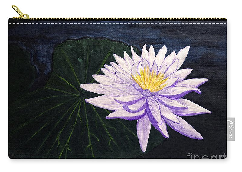 Original Painting Carry-all Pouch featuring the painting Lotus Blossom At Night by Patricia Griffin Brett