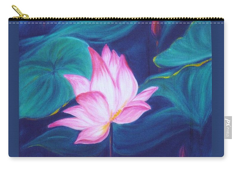 Floral Carry-all Pouch featuring the painting Lotus by Dina Holland
