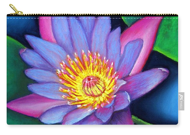 Flower Carry-all Pouch featuring the painting Lotus Divine by Minaz Jantz