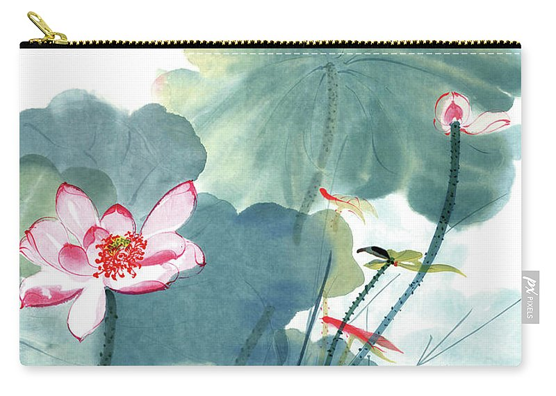 Lotus Plum Peony Flower Carry-all Pouch featuring the painting Lotus Figure by Zhang Daqian