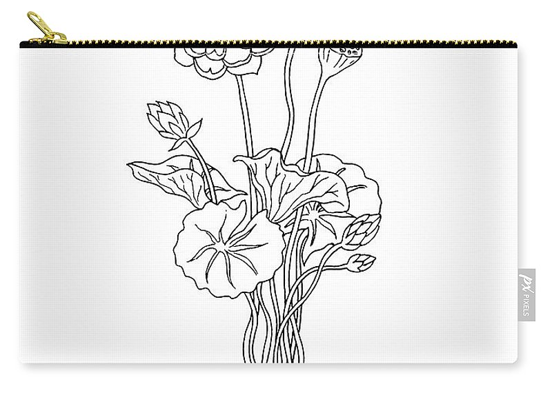 Lotus Flower Botanical Drawing Black And White Carry All Pouch For