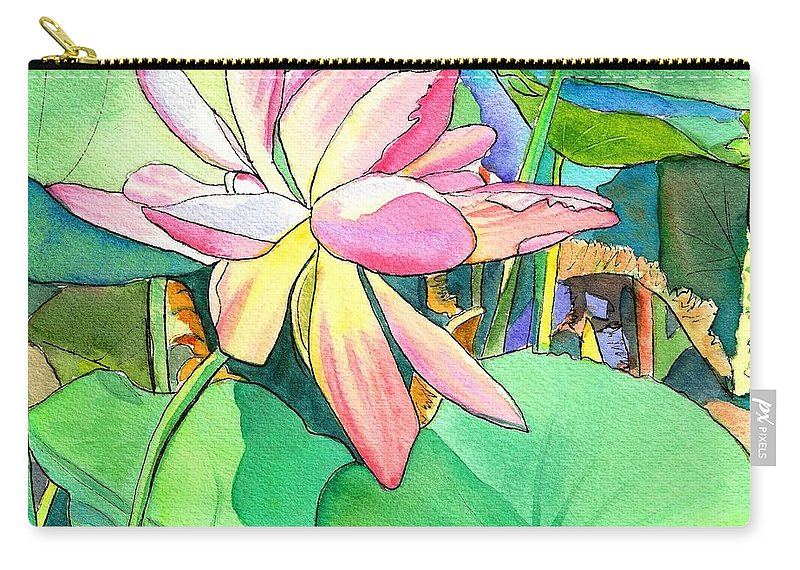 Kauai Carry-all Pouch featuring the painting Lotus Flower by Marionette Taboniar