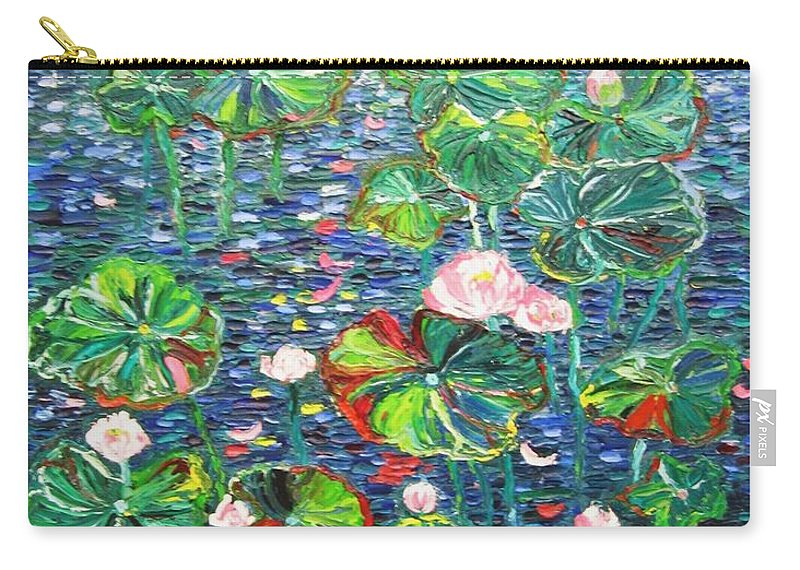 Water Lily Paintings Carry-all Pouch featuring the painting Lotus Flower Water Lily Lily Pads Painting by Seon-Jeong Kim
