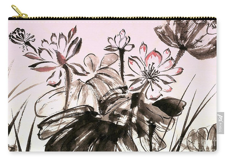 Lotus Carry-all Pouch featuring the mixed media Lotus by Irina Davis