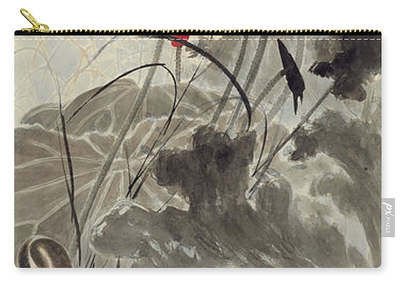 Lotus Plum Peony Flower Carry-all Pouch featuring the painting Lotus Mandarin Duck by Zhang Daqian