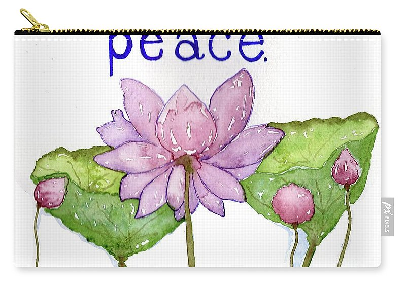 Peace Carry-all Pouch featuring the painting Lotus Of Peace by Mary Kay Bellinger