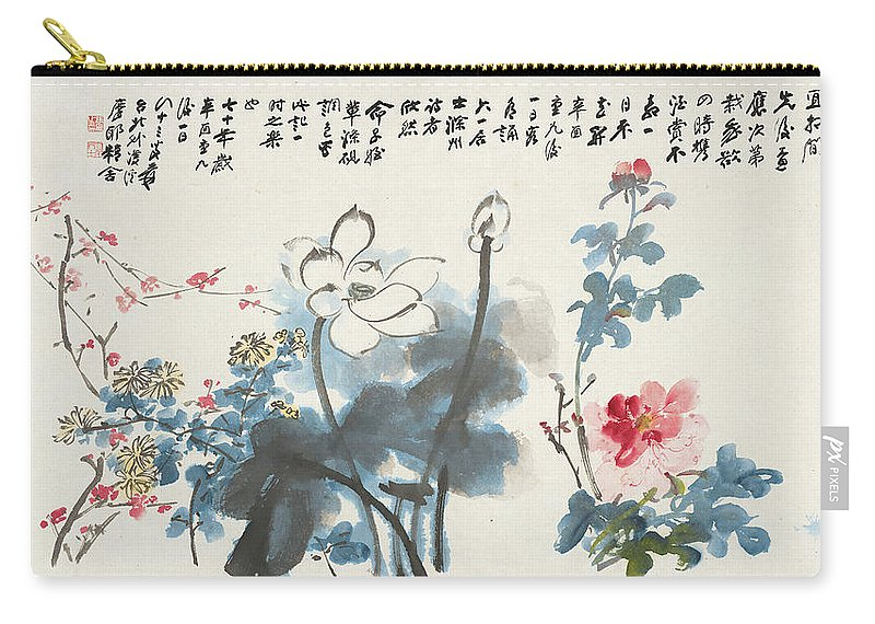 Lotus Plum Peony Flower Carry-all Pouch featuring the painting Lotus Plum Peony Flower by Zhang Daqian
