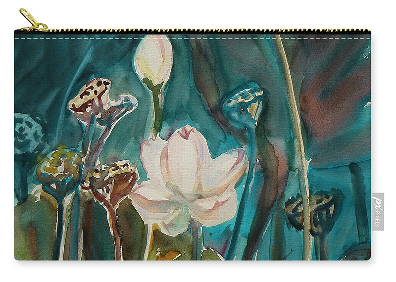 Watercolor Carry-all Pouch featuring the painting Lotus Study I by Xueling Zou