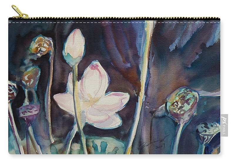 Watercolor Carry-all Pouch featuring the painting Lotus Study II by Xueling Zou