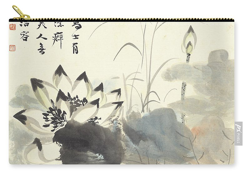 Lotus Carry-all Pouch featuring the painting Lotus by Zhang Daqian