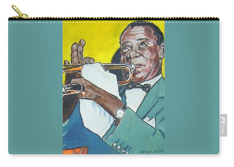 Louis Armstrong Carry-all Pouch featuring the painting Louis Armstrong by Bryan Bustard