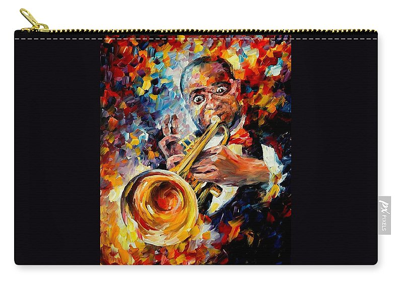 Music Carry-all Pouch featuring the painting Louis Armstrong by Leonid Afremov