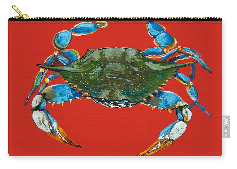 New Orleans Art Carry-all Pouch featuring the painting Louisiana Blue On Red by Dianne Parks