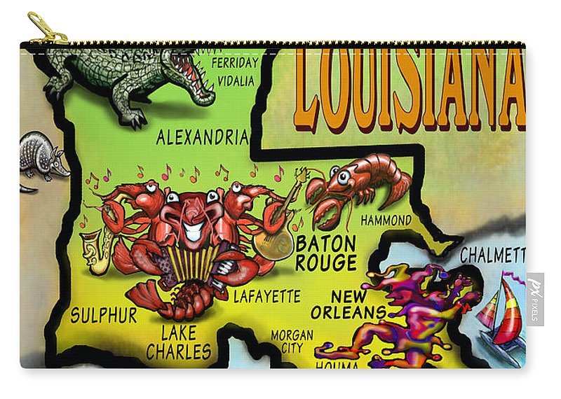 Louisiana Carry-all Pouch featuring the digital art Louisiana Cartoon Map by Kevin Middleton