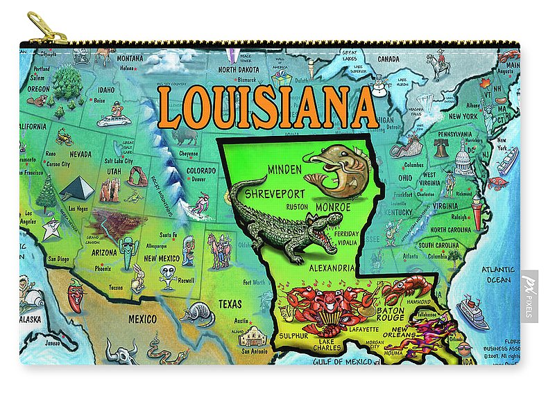 Louisiana Usa Cartoon Map Carry All Pouch For Sale By Kevin Middleton