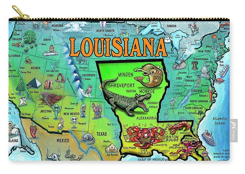 Louisiana Usa Cartoon Map Carry-all Pouch