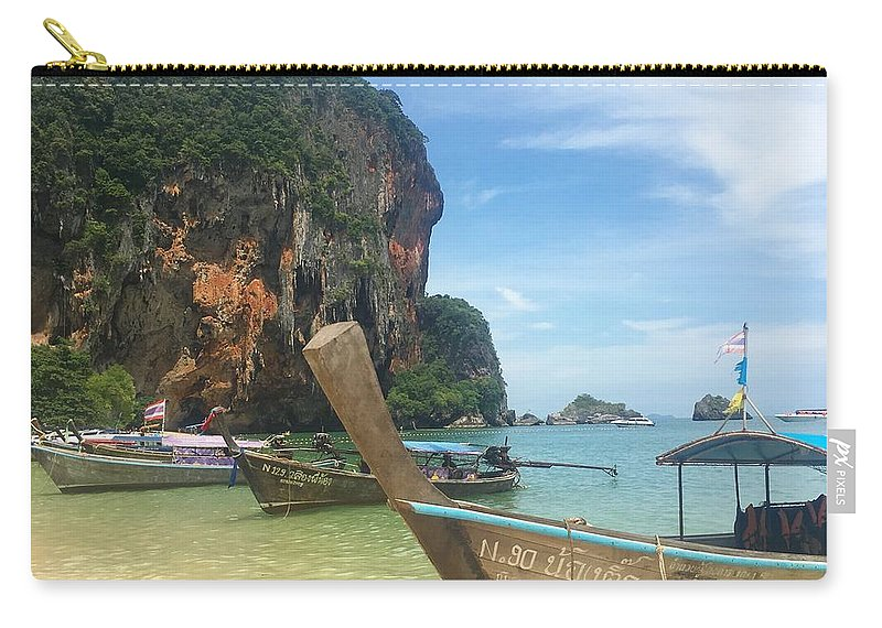 Thailand Carry-all Pouch featuring the photograph Lounging Longboats by Ell Wills