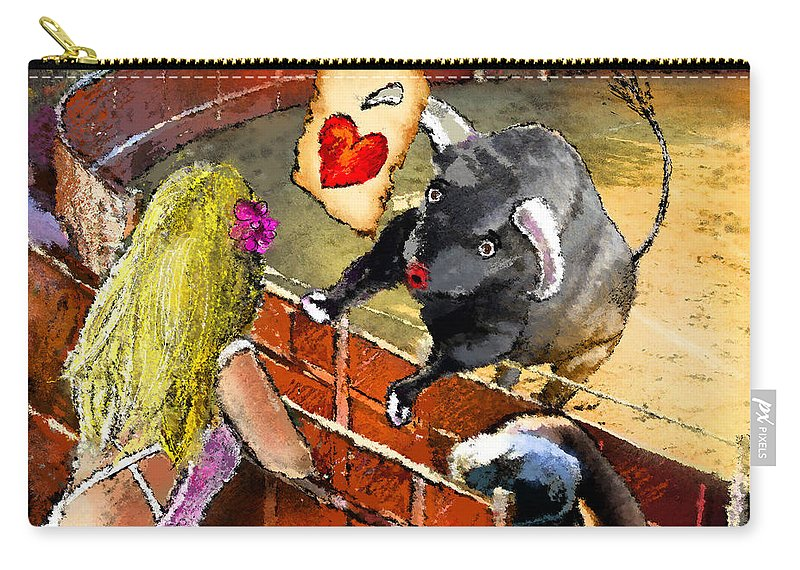 Bullfight Carry-all Pouch featuring the painting Lova Bull by Miki De Goodaboom