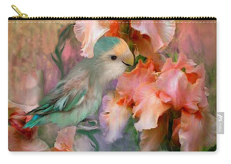 Lovebird Carry-all Pouch featuring the mixed media Love Among The Irises by Carol Cavalaris