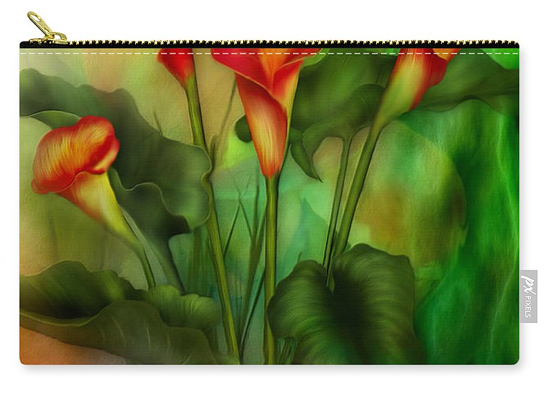 Lovebird Carry-all Pouch featuring the mixed media Love Among The Lilies by Carol Cavalaris