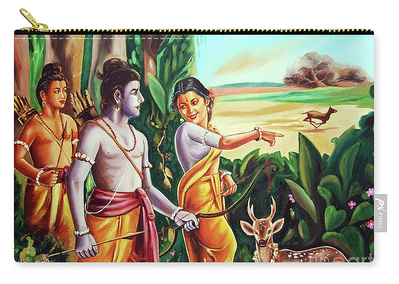 History- Ramayana Carry-all Pouch featuring the painting Love And Valour- Ramayana- The Divine Saga by Ragunath Venkatraman