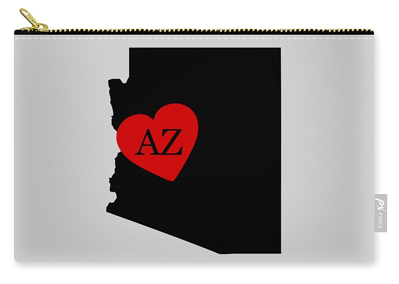Arizona Carry-all Pouch featuring the digital art Love Arizona Black by Custom Home Fashions