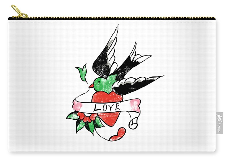 Tattoo Carry-all Pouch featuring the digital art Love Bird Tattoo by Bob Newman