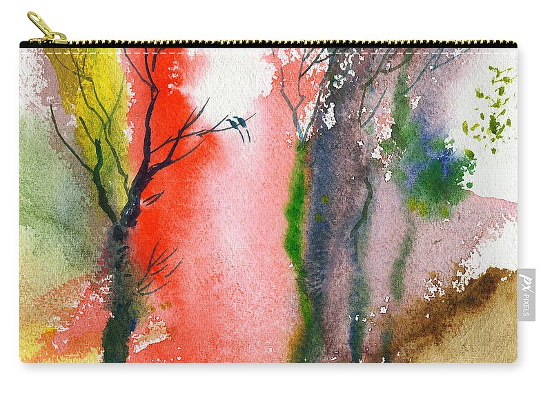 Landscape Carry-all Pouch featuring the painting Love Birds 2 by Anil Nene