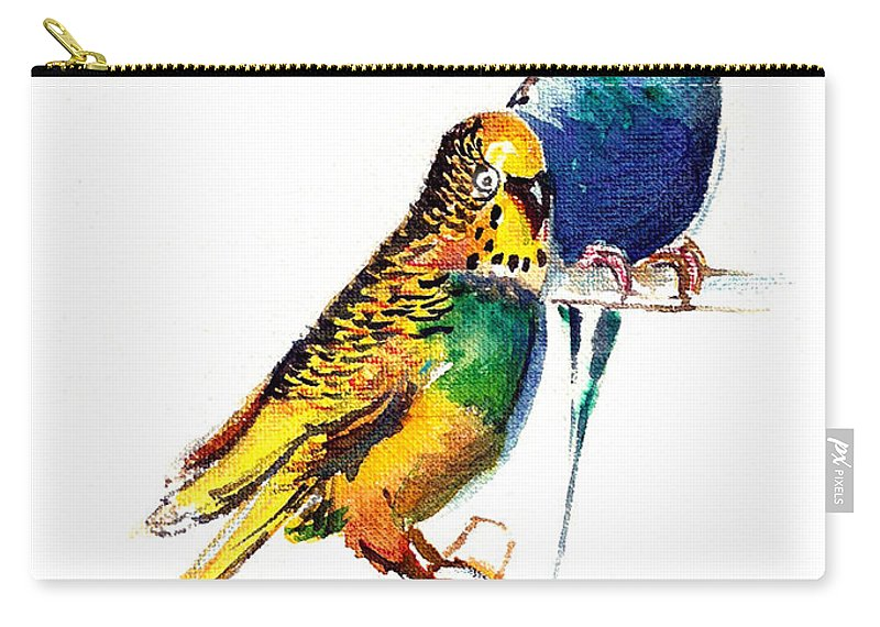 Nature Carry-all Pouch featuring the painting Love Birds by Anil Nene