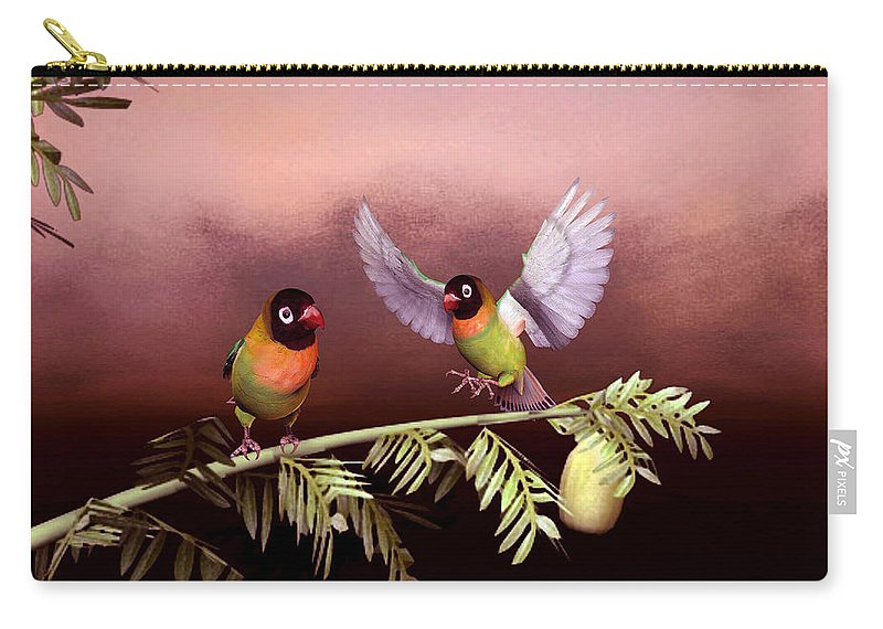 Animals Carry-all Pouch featuring the digital art Love Birds By John Junek by John Junek