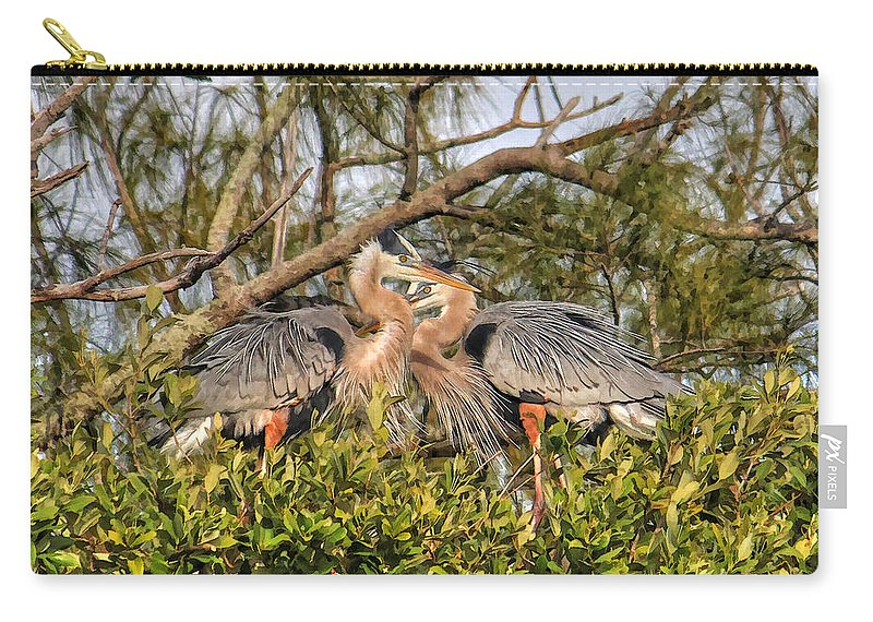 Sarasota Fl Carry-all Pouch featuring the photograph Love Birds - Great Blue Heron by HH Photography of Florida