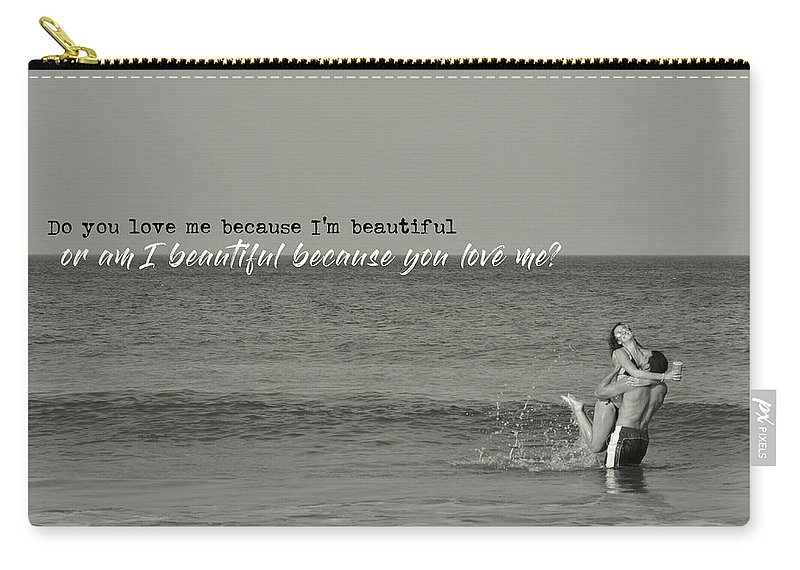 Love Carry-all Pouch featuring the photograph Love Birds Quote by JAMART Photography
