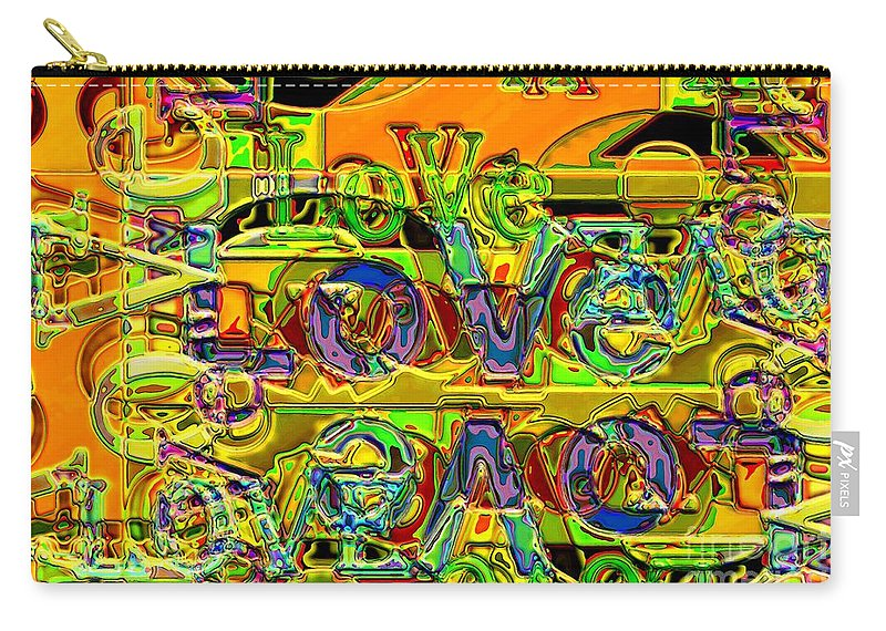 Abstract Carry-all Pouch featuring the digital art Love Contest by Ron Bissett