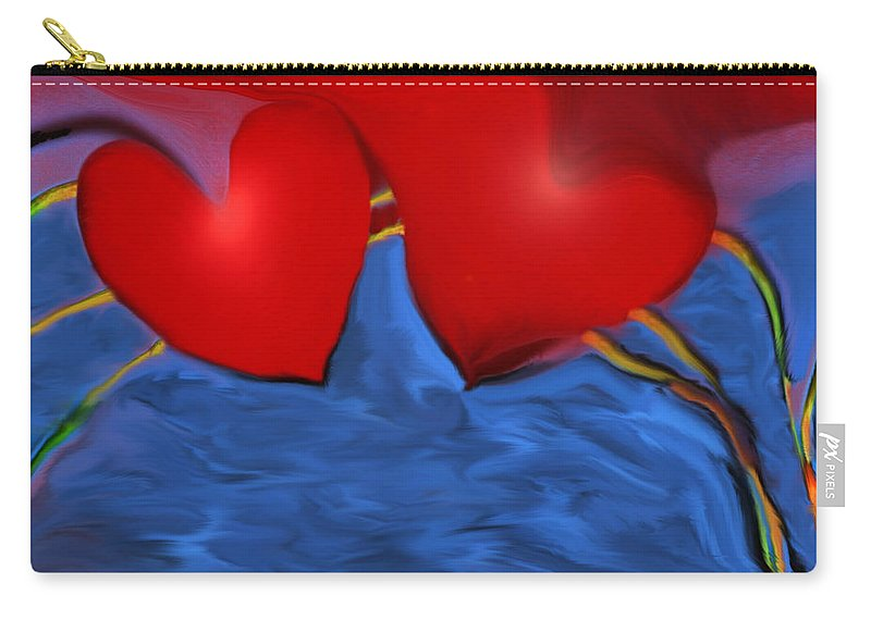 Hearts Carry-all Pouch featuring the digital art Love Flow by Linda Sannuti